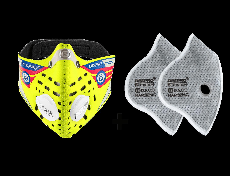 Combo Kit Cinqro™ Mask plus Urban Filter - Flo Yellow